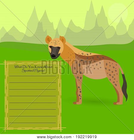 AfricanSpotted Hyena Against Symplistic Nature Background and Poster with Space for Interesting Facts about this Animal. Educational Card for Childrens Schooling. Vector EPS 10