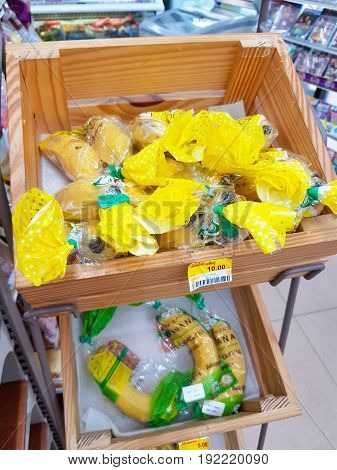 CHIANG RAI THAILAND - JUNE 1 : Gros Michel banana sold in 7-eleven convenience store on June 1 2017 in Chiang rai Thailand.