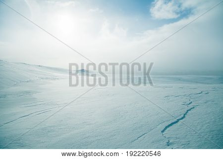 A Beautiful, Minimalist Landscape Of Flat, Snowy Norwegian Field. Clean, Light, High Key, Decorative