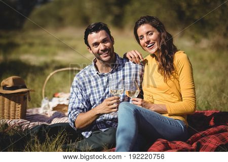 Portrait of happy couple holding wineglasses while sitting together on picnic blanket at farm