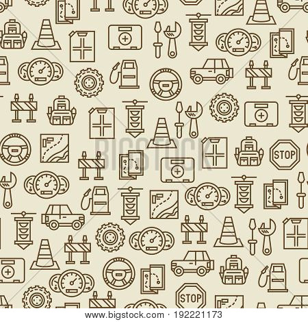 Car travel seamless pattern - travel background with car, map, canister and other transportation icons. Vector illustration