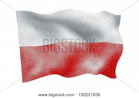 Flag of Poland - Vector stippled illustration
