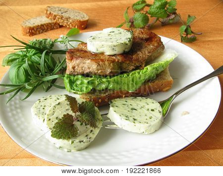 Sandwich with green salad and steak on plate