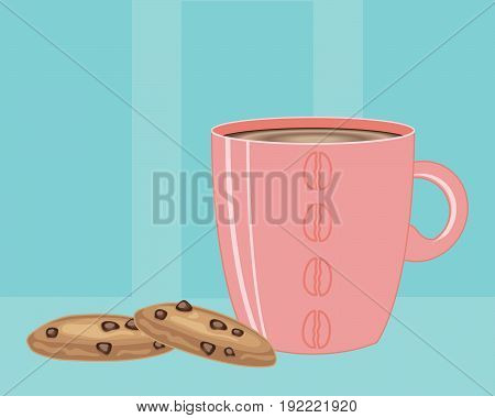 an illustration of a pink mug full of hot coffee and two chocolate chip cookies on a vintage blue background