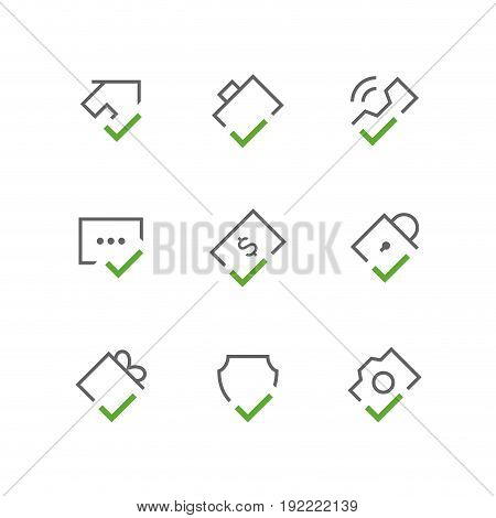 Bold checkmark outline vector icon set - house, briefcase, phone, chat, dollar, lock, gift, shield and camera with tick or checkbox symbols. Contacts, business and realty signs.