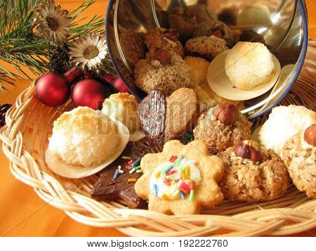 Homemade german christmas cookies with butter cookies, nut cookies and coconut macaroons