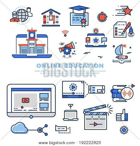 Online education colorful line icons and infographics isolated on white background. School and university education. Vector illustration