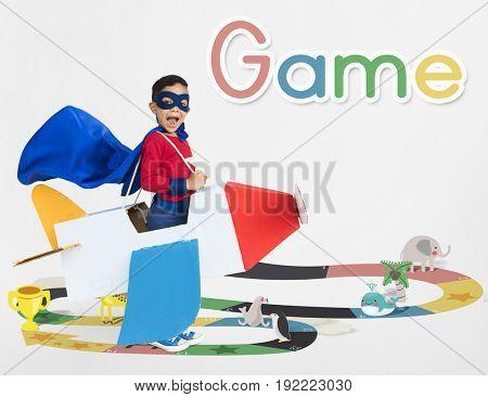 Illustration of snake and ladder board game