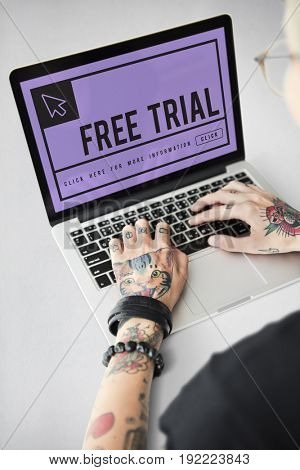 Free trial word with mouse cursor icon