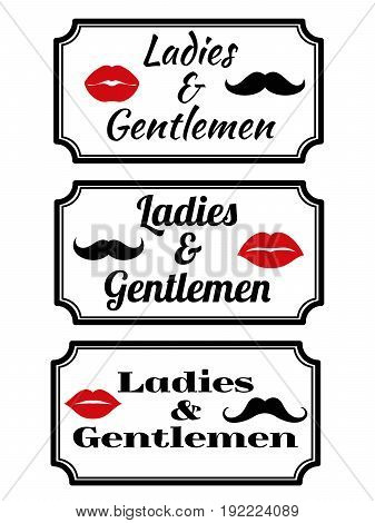 Ladies and gentlemens name plate with lips and mustaches. Vector illustration