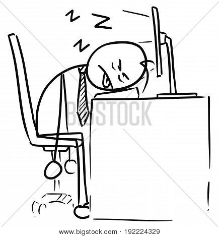 Cartoon vector doodle exhausted tired stickman man sleeping on the computer keyboard in the job