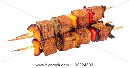 Grilled spam and sweet pepper kebabs isolated on a white background