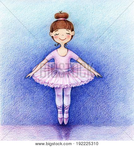 hands drawn picture of little ballet dancer on the stage by the color pencils
