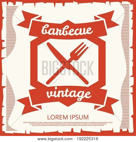 Barbecue party vintage poster design with emblem. Retro banner barbecue. Vector illustration