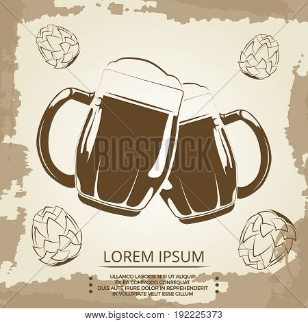 Beer mugs and hops vintage poster for beer shop. Beverage in mug banner. Vector illustration