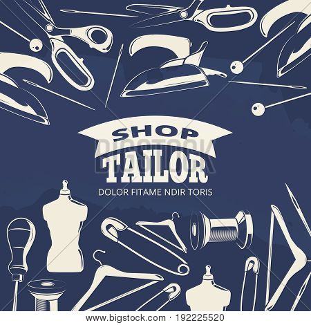 Blue tailor shop fashion banner or poster with scissors. Handmade and handwork poster. Vector illustration