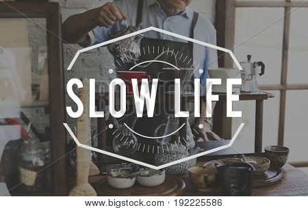 Coffee Mania Slow Life Relaxation Word Stamp Banner Graphic