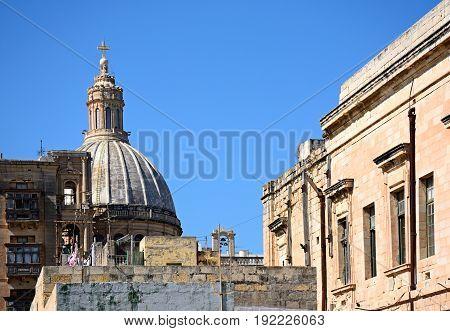 View of the Carmelite church bell tower Valletta Malta Europe.