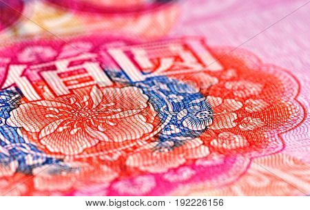 Enlarged view of an portion of the 100 RMB note showing colorful flowers and two Chinese characters (BAI und YUAN)