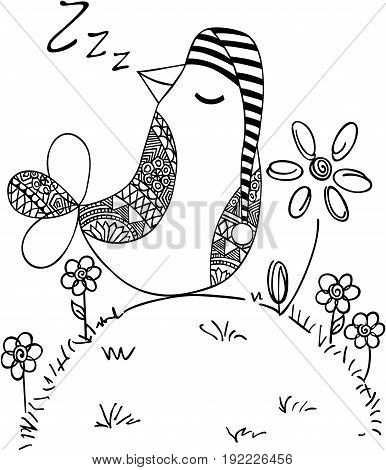 Scalable vectorial image representing a cute bird sleeping, isolated on white.