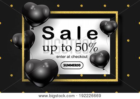 Summer sale concept, beautiful black balloons in shape of heart randomly flying over gold frame. Sale elegant vector background, coupon code, text. Vector golden frame, dots pattern, ballons.