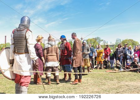 St. Petersburg Russia - 28 May, People at a Viking tournament, 28 May, 2017. Knight tournament at the festival of ancient Vikings in St. Petersburg.