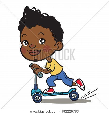 Cool vector concept illustration on little black african boy having fun outside. Happy small black african boy riding kick scooters outdoors.