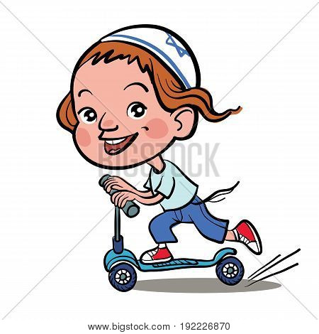 Cool vector concept illustration on little jewish boy having fun outside. Happy small jewish boy riding kick scooters outdoors.