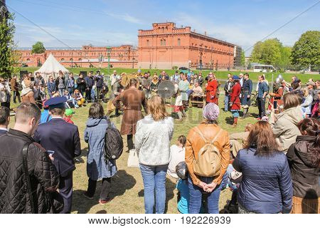 St. Petersburg Russia - 28 May, The spectators of the Viking tournament, 28 May, 2017. Knight tournament at the festival of ancient Vikings in St. Petersburg.