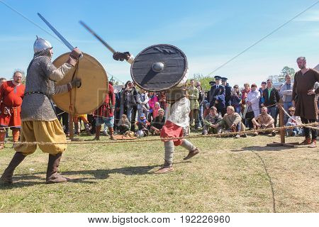 St. Petersburg Russia - 28 May, Demonstrative fight with swords, 28 May, 2017. Knight tournament at the festival of ancient Vikings in St. Petersburg.