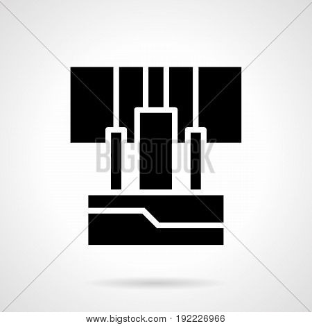 Abstract close-up monochrome symbol of wires connected to amplifier. Sound stage or studio equipment. Symbolic black glyph style vector icon.