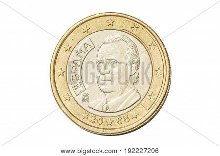 Spanish coin of one euro closeup with symbol: King Philip VI from Spain. Isolated on white studio background.