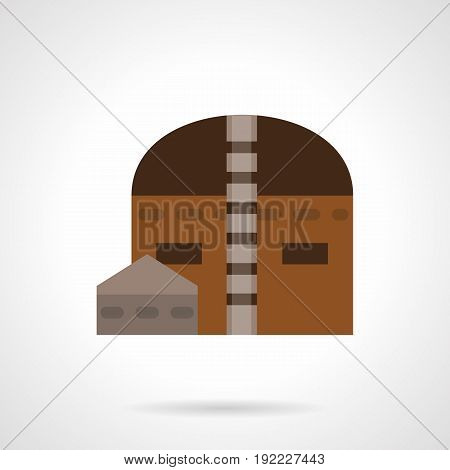 Symbol of hangar building. Industrial architecture and storage facilities. Flat color style vector icon.