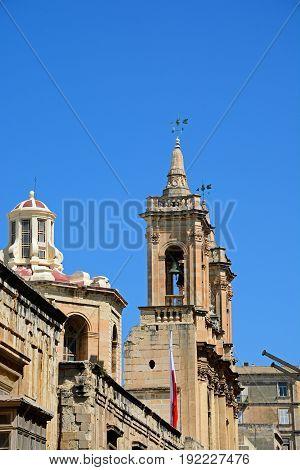St Augustine Church along Old Bakery Street Valletta Malta Europe.
