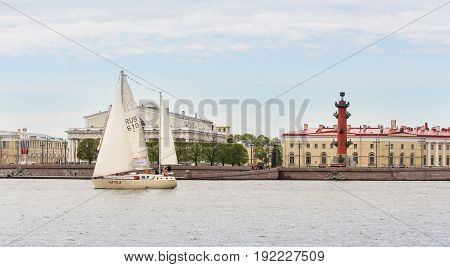 St. Petersburg Russia - 28 May, Yacht at the stock exchange, 28 May, 2017. Famous sightseeing places of St. Petersburg for tourists.