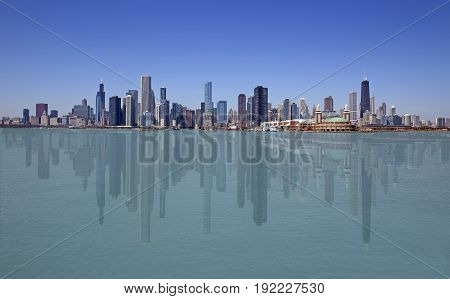 Skyline of Chicago with reflection on the water, USA