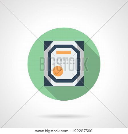 Abstract symbol of certificate for factory or workshop. Quality control of industrial facilities. Round flat design vector icon.