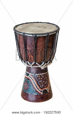 Iconic African drum isolated on white background