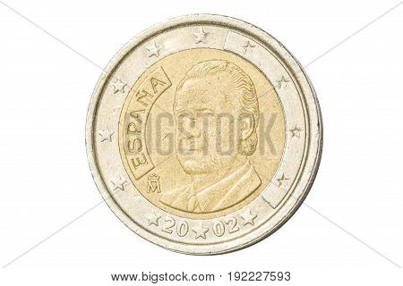 Spanish coin of two euro closeup with symbol: King Philip VI from Spain. Isolated on white studio background.