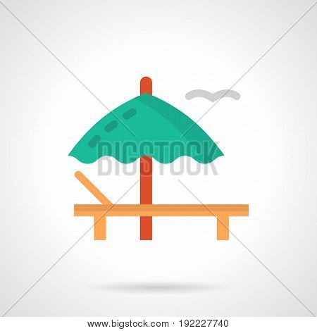 Symbol of summer rest with sunbathing. Beach inventory - wooden deck-chair and green umbrella. Flat color style vector icon.