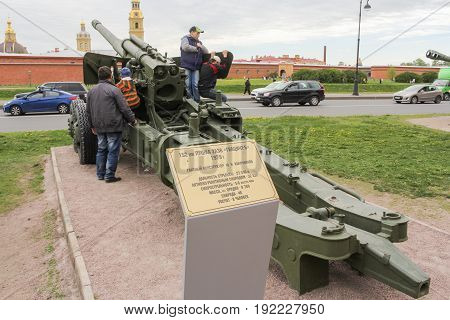 St. Petersburg Russia - 28 May, Great cannon of Hyacinth, 28 May, 2017. Military History Museum of combat equipment in St. Petersburg.