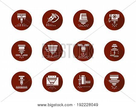 Abstract white glyph symbols of laser machine heads. Industrial technology concept. Collection of round red vector icons.