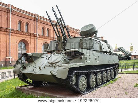 St. Petersburg Russia - 28 May, Self-propelled antiaircraft gun Shilka, 28 May, 2017. Military History Museum of combat equipment in St. Petersburg.