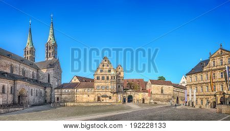 Bamberg Germany. Panorama of Domplatz square with Bamberg Cathedral Old court yard and State Library