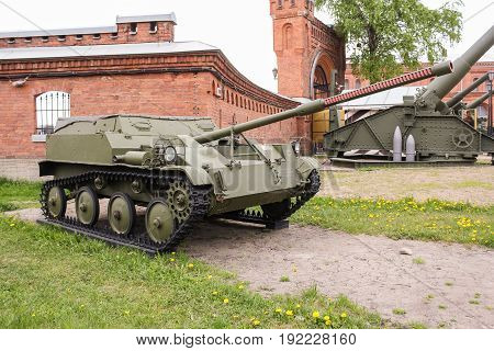 St. Petersburg Russia - 28 May, Easy airborne self-propelled installation, 28 May, 2017. Military History Museum of combat equipment in St. Petersburg.
