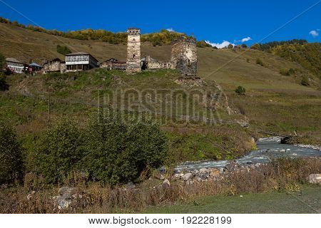 Houses, Landscapes And Svan Towers Of Ushguli.