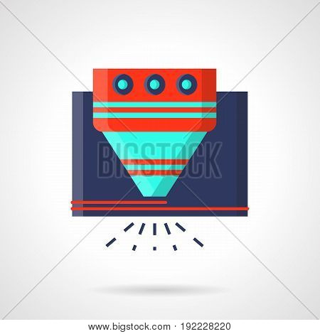Abstract symbol of laser machine. Modern industrial equipment and processing technology. Flat color style vector icon.