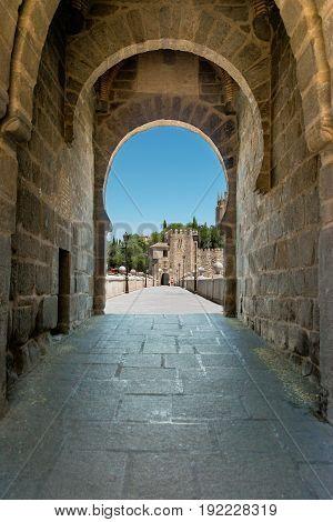 Saint Martin medieval bridge over tajo's river in Toledo Castilla la Mancha Spain