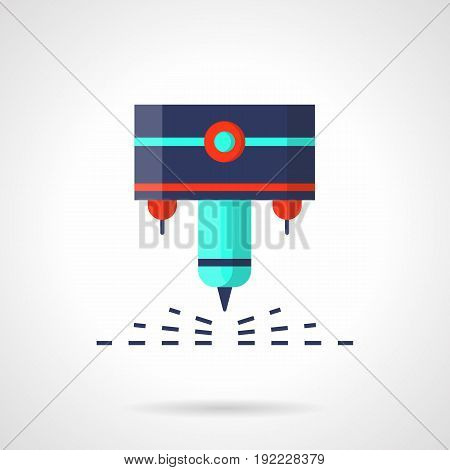 Abstract symbol of CNC laser machine. Modern industrial equipment and processing technology. Flat color style vector icon.