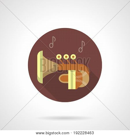Abstract symbol of classical tuba with notes. Brass wind musical instruments. Round flat design vector icon.